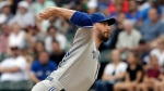 Toronto Blue Jays starting pitcher John Axford throws to a Chicago White Sox batter during the first inning of a baseball game Saturday, July 28, 2018, in Chicago. (AP Photo/Nam Y. Huh)