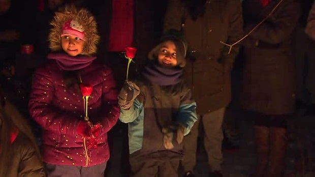 Children held roses at a vigil for 11-year-old Riya Rajkumar, found dead in a Brampton home on Thursday night.