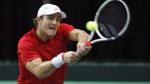 In this file photo, Canada's Brayden Schnur returns the ball against India's Yuki Bhambri during Davis Cup singles tennis in Edmonton, Alta., on Sunday September 17, 2017. THE CANADIAN PRESS/Jason Franson