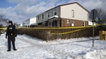 Police monitor the scene outside of a house where a young girl was found dead in Brampton, Ont. on Friday, February 15, 2019. The father of an 11-year-old girl allegedly killed while out celebrating her birthday is in police custody and will soon be facing charges in his daughter's death, officers said Friday. Peel regional police Const. Danny Marttini said Roopesh Rajkumar is en route back to Brampton, Ont., the suburb west of Toronto where his daughter Riya was found dead late Thursday night. THE CANADIAN PRESS/Andrew Ryan