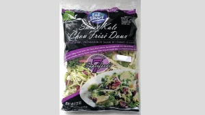 A package of 'Eat Smart: Sweet Kale Vegetable Salad Bag Kit' is pictured. (CFIA)