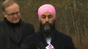 Jagmeet Singh is seen at a news conference on Monday, Feb. 18, 2019.