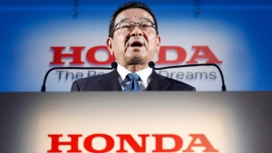 Honda's President and CEO Takahiro Hachigo speaks during a press conference in Tokyo Tuesday, Feb. 19, 2019. (Yuya Shino/Kyodo News via AP)