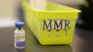 A measles, mumps and rubella vaccine is seen on a countertop at a pediatrics clinic in Greenbrae, Calif. on Feb. 6, 2015. The Public Health Agency of Canada has issued a statement aimed at reminding Canadians that measles is a serious and highly contagious disease and that getting vaccinated is the best protection. THE CANADIAN PRESS/AP, Eric Risberg