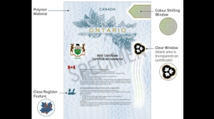 A polymer long-form birth certificate issued by the Ontario government is shown. (Ontario.ca)