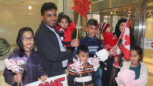 Members of the Barho family are shown upon arrival in Canada on Sept. 29 2017, at the Halifax airport in a handout photo. Seven children, all members of a Syrian refugee family, died early Tuesday in a fast-moving house fire described as Nova Scotia's deadliest blaze in recent memory. In a brief interview from the hospital, Imam Wael Haridy of the Nova Scotia Islamic Community Centre said the Syrians - whose family name is Barho - had fled that country's civil war.THE CANADIAN PRESS/Enfield Weekly Press-Pat Healey