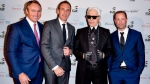 Todd Cowan, left to right, & Jordan Dermer (Co-founders of Capital Developments), Karl Lagerfeld & Peter Freed, taken at the Artshoppe Lofts & Condos launch event in Toronto, April 2015. Several Canadian fashion and design experts who met couture icon Karl Lagerfeld are recalling a powerful visionary whose influence lives on in their work. THE CANADIAN PRESS/HO-Capital Developments