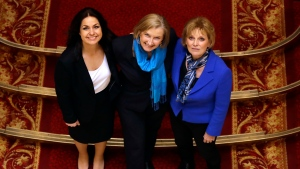 British politicians Heidi Allen, left, Sarah Wollaston, centre, and Anna Soubry, right, joined new political party 'The Independent Group' pose for a photograph after a press conference in Westminster in London, Wednesday, Feb. 20, 2019. Cracks in Britain's political party system yawned wider Wednesday, as three pro-European lawmakers - Soubry, Allen and Wollaston - quit the governing Conservatives to join a newly formed centrist group of independents who are opposed to the government's plan for Britain's departure from the European Union. (AP Photo/Kirsty Wigglesworth)
