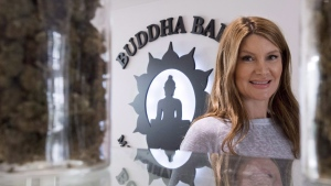 Jessika Villano, owner of Buddha Barn Craft Cannabis is seen in her Vancouver store, Tuesday, Oct. 2, 2018. Canada's proposed edible pot regulations would result in tasteless products wrapped in wasteful packaging, shutting out medical patients and fuelling a continued black market, critics say. THE CANADIAN PRESS/Jonathan Hayward