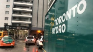 Toronto Hydro on scene of a Wellesley Street East building on Feb. 21, 2019 where an inspection on the electrical system is being conducted.