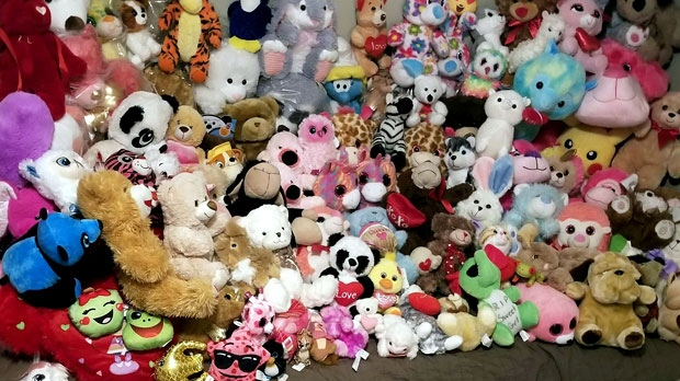 Some teddy bears left at memorial for Riya Rajkumar in arms of family, rest will be donated