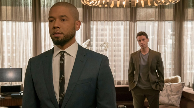 """This image released by Fox shows Jussie Smollett, left, and A.Z. Kelsey in a scene from the """"Pride"""" episode of """"Empire"""" which originally aired on Oct. 10, 2018. (Chuck Hodes/FOX via AP)"""