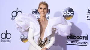 Celine Dion poses in the press room at the Billboard Music Awards in Las Vegas on May 21, 2017. THE CANADIAN PRESS/AP, Invision - Richard Shotwell