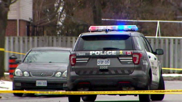 The scene of a shooting in Rexdale on Sunday Feb. 24, 2018 is seen.