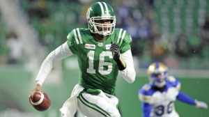 Canadian quarterback Brandon Bridge signed with his hometown Toronto Argonauts on Sunday afternoon. Quarterback Brandon Bridge, then with the Saskatchewan Roughriders, scrambles against the Winnipeg Blue Bombers during second half CFL West Division semifinal action in Regina on Sunday, Nov. 11, 2018. THE CANADIAN PRESS/Mark Taylor
