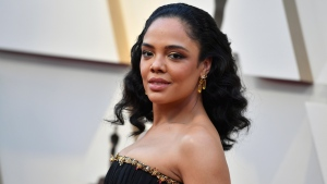 Tessa Thompson arrives at the Oscars on Sunday, Feb. 24, 2019, at the Dolby Theatre in Los Angeles. (Photo by Jordan Strauss/Invision/AP)