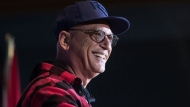 Howie Mandel speaks during a Canada's Walk of Fame ceremony honouring Seth Rogen and Evan Goldberg in Vancouver, on February 15, 2019. (Darryl Dyck / THE CANADIAN PRESS)