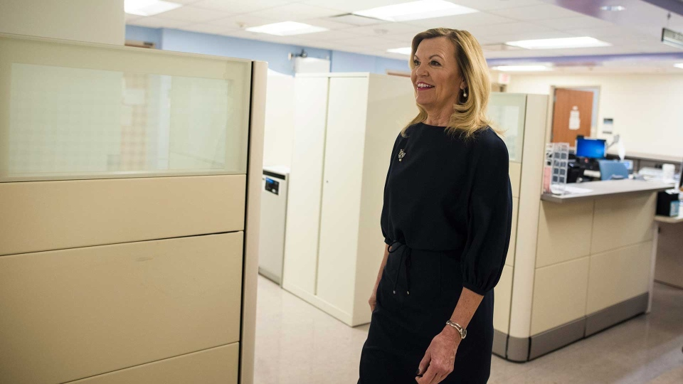 Christine Elliott, Deputy Premier and Minister of Health and Long-Term Care, tours Bridgepoint Active Healthcare before making an announcement in Toronto on Tuesday, February 26, 2019. THE CANADIAN PRESS/ Tijana Martin