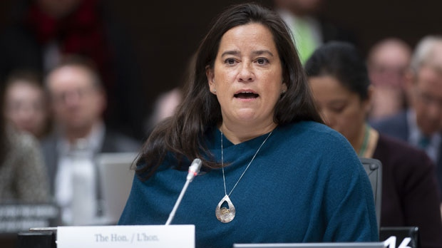 Jody Wilson Raybould delivers her opening statement as she appears at the Justice committee meeting in Ottawa, Wednesday, February 27, 2019. THE CANADIAN PRESS/Adrian Wyld