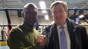 Tony Morrison, head trainer of Sully's Boxing Gym, (left) and Mayor John Tory are seen. (Instagram  / @sullysboxinggym)