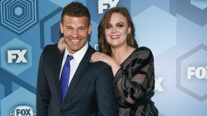 In this May 16, 2016 file photo, David Boreanaz and Emily Deschanel attend the FOX Networks 2016 Upfront Presentation Party in New York. (Photo by Evan Agostini/Invision/AP, File)