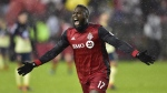 Toronto FC forward Jozy Altidore (17) celebrates his goal against Club America during first half CONCACAF Champions League semifinal action in Toronto on Tuesday, April 3, 2018. THE CANADIAN PRESS/Frank Gunn
