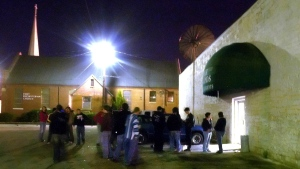 In a March 19, 2005 file photo, a crowd begins to gather outside of the Muscle Shoals Music Hall, in Sheffield, Ala. The mall northern Alabama music studio where The Rolling Stones, Cher, and other stars recorded their hit songs is turning 50 this year. Muscle Shoals Sound Studios will host an April 27, 2019 celebration of the milestone in Sheffield, Alabama. (Jim Hannon/The TimesDaily via AP, File)