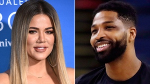 This combination file photo shows TV personality Khloe Kardashian at the NBCUniversal Network 2017 Upfront in New York on May 15, 2017, left, and Cleveland Cavaliers' Tristan Thompson during an NBA basketball practice in Oakland, Calif., on May 30, 2018. (AP Photo/File)