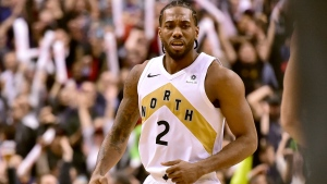 Toronto Raptors forward Kawhi Leonard (2) celebrates the team's win following second half NBA basketball action against the Portland Trail Blazers, in Toronto on Friday, March 1, 2019. Leonard was responsible for the game-winning two point basket. THE CANADIAN PRESS/Frank Gunn