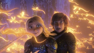"This image released by Universal Pictures shows characters Astrid, voiced by America Ferrera, left, and Hiccup, voiced by Jay Baruchel, in a scene from DreamWorks Animation's ""How to Train Your Dragon: The Hidden World."" (DreamWorks Animation/Universal Pictures via AP)"