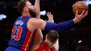 Detroit Pistons forward Blake Griffin (23) attempts a layup as Toronto Raptors center Marc Gasol (33) defends during the first half of an NBA basketball game, Sunday, March 3, 2019, in Detroit. (AP Photo/Carlos Osorio)