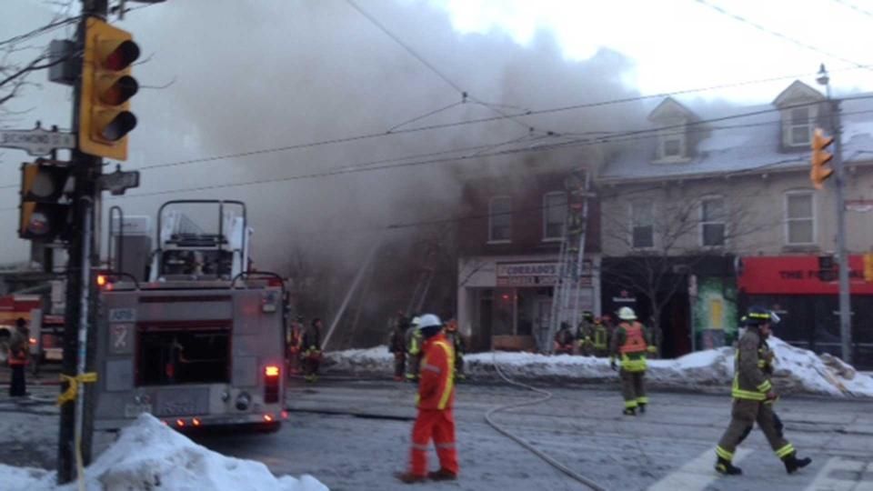 Toronto fire crews respond to a basement apartment near Richmond Street and Bathurst Street Monday March 4, 2019. (Cam Wolley /CP24)