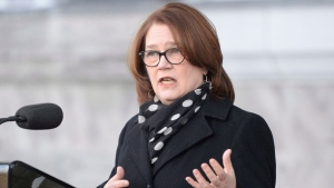 Jane Philpott addresses the media following a swearing in ceremony at Rideau Hall in Ottawa on Monday, Jan. 14, 2019. THE CANADIAN PRESS/Adrian Wyld