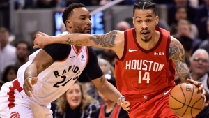 Houston Rockets guard Gerald Green (14) powers around Toronto Raptors forward Norman Powell (24) during second half NBA basketball action in Toronto on Tuesday, March 5, 2019. THE CANADIAN PRESS/Frank Gunn