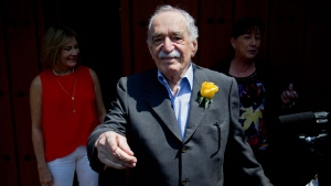 In this March 6, 2014 file photo, Gabriel Garcia Marquez greets fans and reporters outside his home on his birthday in Mexico City. (AP Photo/Eduardo Verdugo, File)