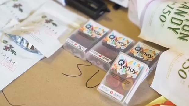 "Cannabis laced ""Qandy"" is shown in a screen grab from a YRP video."