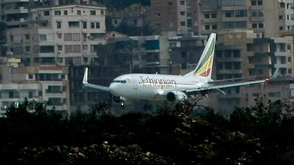 In this Jan. 25, 2010, file photo an Ethiopian airplane prepares to land in Beirut International airport hours in Beirut, Lebanon. (AP Photo/Ben Curtis, File)