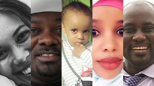 From left to right, Danielle Moore, Derick Lwugi, Sofia Faisal Abdulkadir, her mother Amina Odowaa and Pius Adesanmi, and are seen in this composite image. THE CANADIAN PRESS/HO