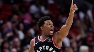 Toronto Raptors guard Kyle Lowry reacts after shooting a three-point basket during the second half of an NBA basketball game against the Miami Heat, Sunday, March 10, 2019, in Miami. (AP Photo/Lynne Sladky)