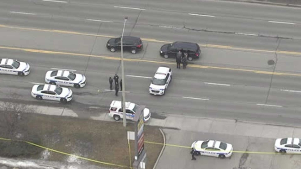 Peel police respond to a shooting in the area of Dundas Street East and Cawthra Road in Mississauga Monday March 11, 2019.