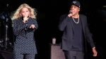 In this Nov. 4, 2016 file photo, Beyonce and Jay-Z perform during a Democratic presidential candidate Hillary Clinton campaign rally in Cleveland. The power couple will be honored for accelerating LGBTQ acceptance at the GLAAD Media Awards on March 28. (AP Photo/Matt Rourke, File)