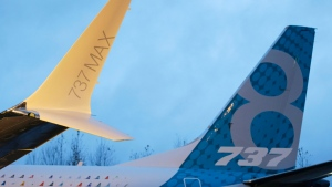 A winglet and the vertical stabilizer of the first Boeing 737 MAX airplane to roll off Boeing's assembly line in Renton, Wash., are shown before an employee-only rollout event. THE CANADIAN PRESS/AP, Ted S. Warren