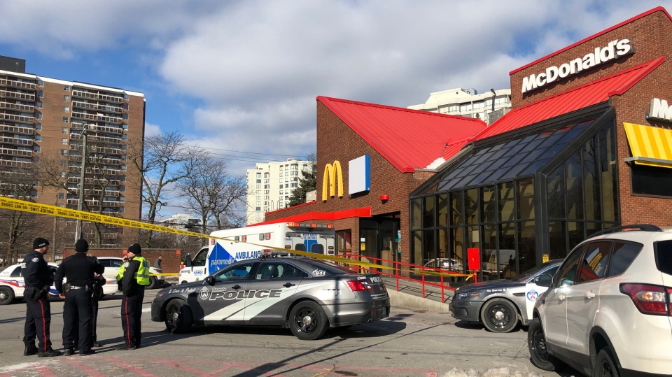 Police and paramedics respond to a drive-thru at Bathurst Street and Fisherville Road after a pedestrian was struck Tuesday March 12, 2019. (Peter Muscat)