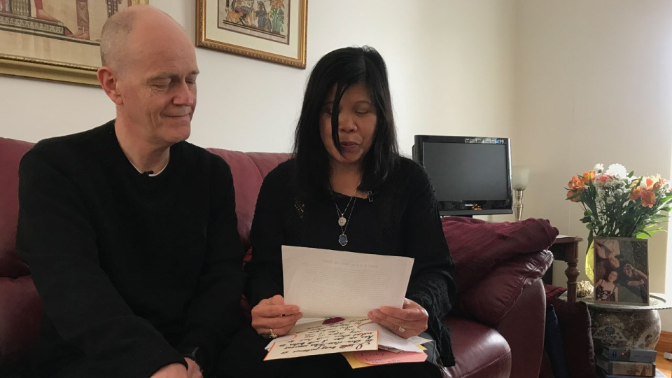 Chris and Clariss Moore are seen sitting in their Scarborough home on March 13, 2019. (CTV News Toronto / Tracy Tong)