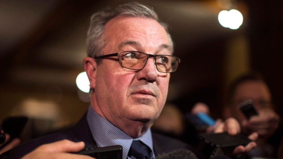 Ontario PC MPP Randy Hillier scrums with reporters following the Throne Speech at the Ontario Legislature in Toronto on Monday, March 19, 2018. THE CANADIAN PRESS/Chris Young