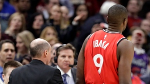 Toronto Raptors' Serge Ibaka (9), from Republic of Congo, is escorted off the court after getting ejected in the second half of an NBA basketball game against the Cleveland Cavaliers in Cleveland on March 11, 2019. The Toronto Raptors will lean heavily on veteran centre Marc Gasol while frontcourt star Serge Ibaka serves a three-game suspension for his role in a dust-up with Cleveland's Marquese Criss. THE CANADIAN PRESS/AP, Tony Dejak