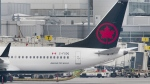 An Air Canada Boeing 737 Max 8 aircraft is shown next to a gate at Trudeau Airport in Montreal, Wednesday, March 13, 2019. (THE CANADIAN PRESS/Graham Hughes)