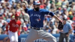 Toronto Blue Jays pitcher Matt Shoemaker delivers to the Philadelphia Phillies during the second inning of a spring training baseball game Saturday, March 9, 2019, in Clearwater, Fla. (AP Photo/Chris O'Meara)