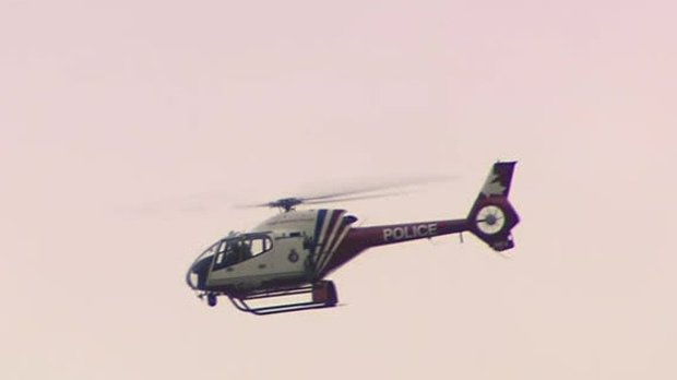 York Regional Police helicopter Air2 seen over Bait Ul Islam mosque in Maple on March 15, 2019. (CP24)