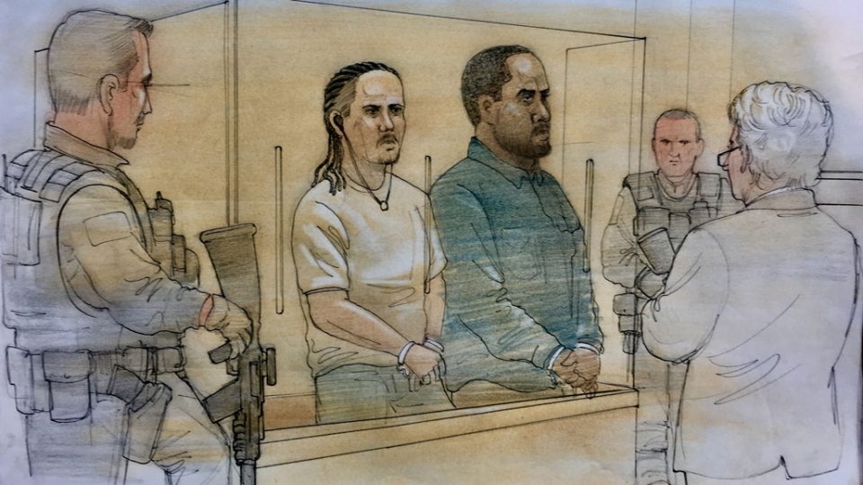 Brandon Reyes and Marckens Vilme appear in court on March 15, 2019. (John Mantha)